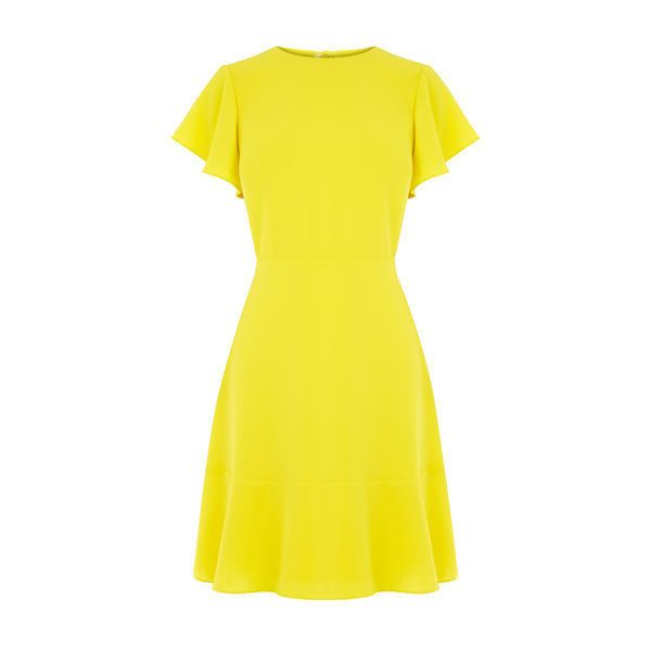 Warehouse Warehouse Flared Sleeve Skater Dress Size 6 ($51) ❤ liked on Polyvore featuring dresses, yellow, yellow evening dress, flared sleeve dress, yellow cocktail dress, evening dresses and skater dresses