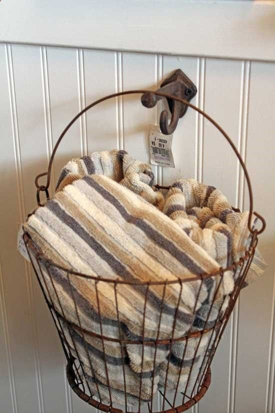 Basket with Towels Decorating the Guest Bath