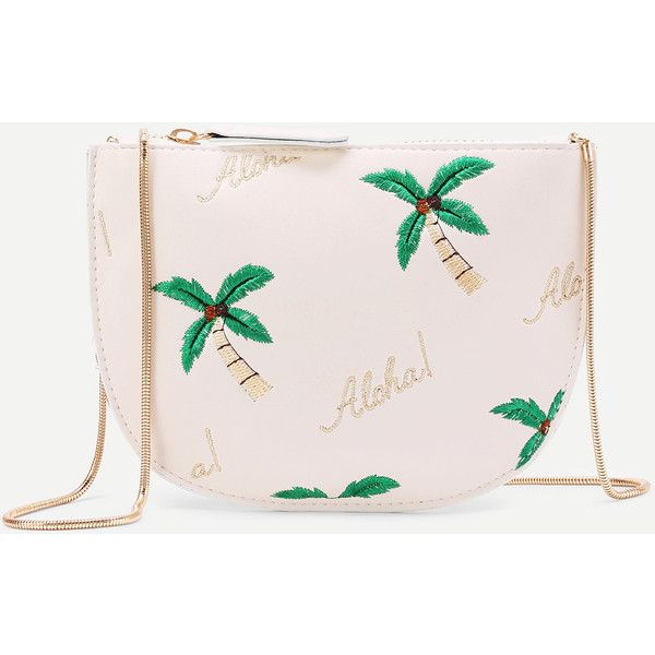 SheIn(sheinside) Palm Tree Print PU Crossbody Bag (49 RON) ❤ liked on Polyvore featuring bags, handbags, shoulder bags, white, white cross body handbags, white crossbody purse, crossbody shoulder bag, crossbody purses and white handbags