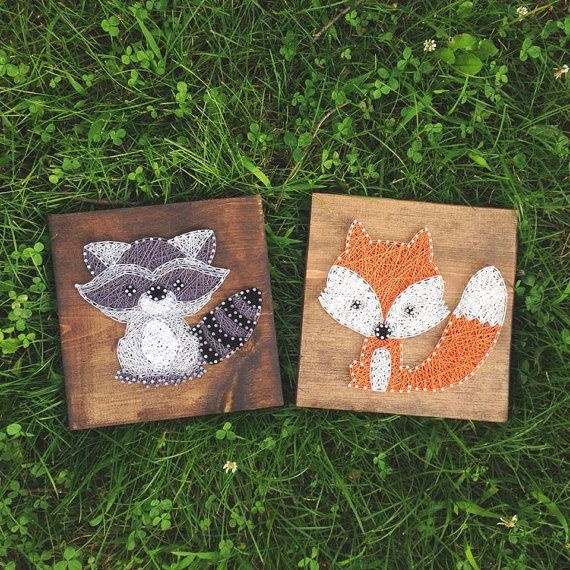String Art, Made to order strig art, String and Nail art, Nursery decor, Fox string art, baby fox, Fox, Kids Room Decor, Wall Art, String