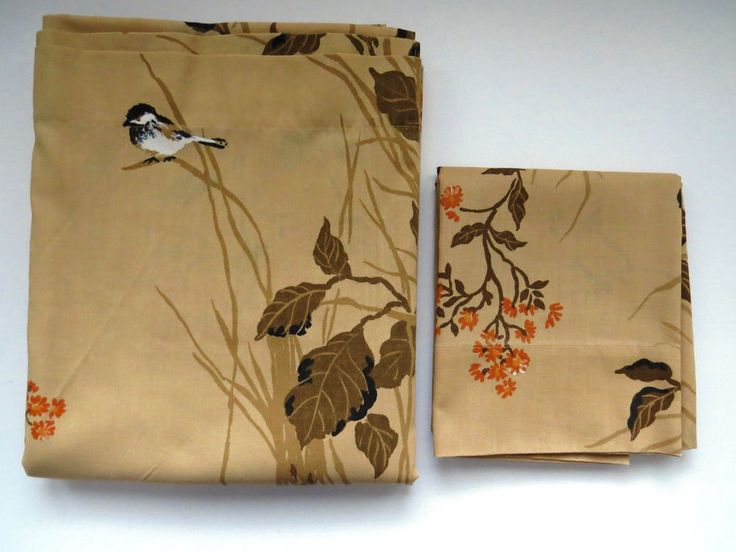 Vintage Full Flat Sheet and Matching Pillowcase by Pequot Asian Print on Tan