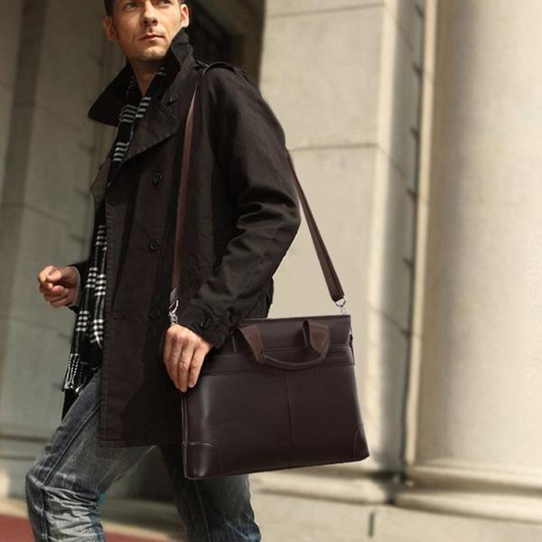 KTYXDE Mens Tote Personality Mens Bag Retro Fashion Leather Mens Business Bag Black 38 10 30.5cm Briefcase