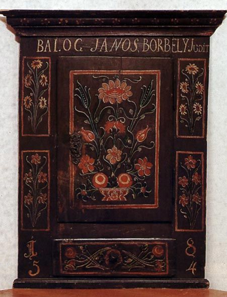 Torockói bútor Saroktéka, a tulajdonos házaspár nevének feltüntetésével (Torockó, v. Torda-Aranyos m., 1854) Bp. Néprajzi Múzeum