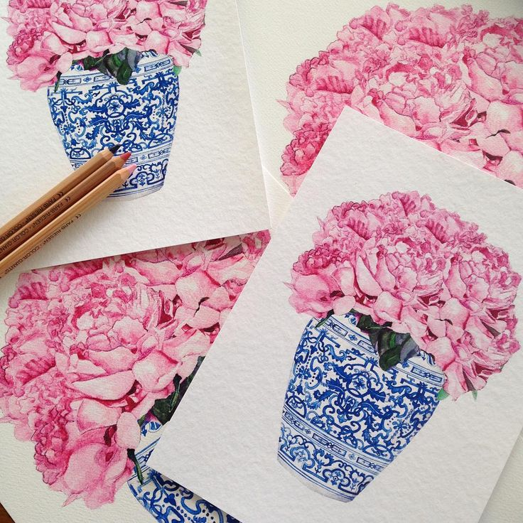 Pretty new peonie blue and white print. Urn similar to a limited edition one I did a few years back. Available online at www.sproutgallery.com.au. Delivery worldwide