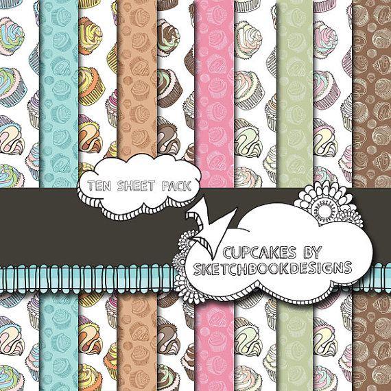Digital papers  Cute Cupcake Set  DIY by SketchbookdesignsAu, $3.00