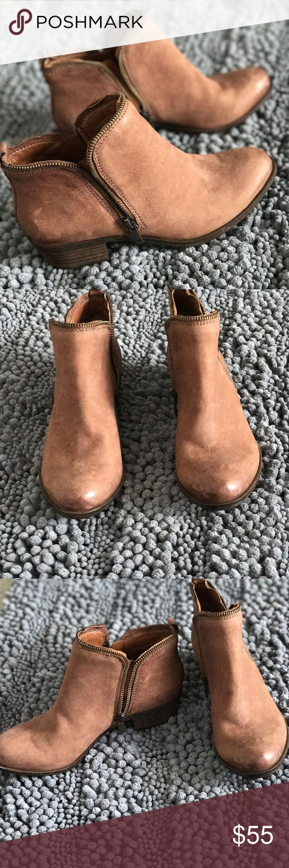 Lucky brand brown booties size 8 never worn *sale* price firm unless very close Lucky brand brown zipper booties size 8 never worn Lucky Brand Shoes Ankle Boots & Booties