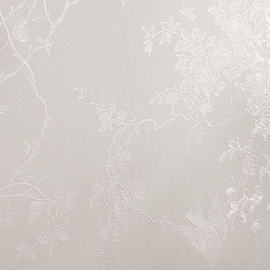Spring Blossom White Shimmer Wallpaper, , large