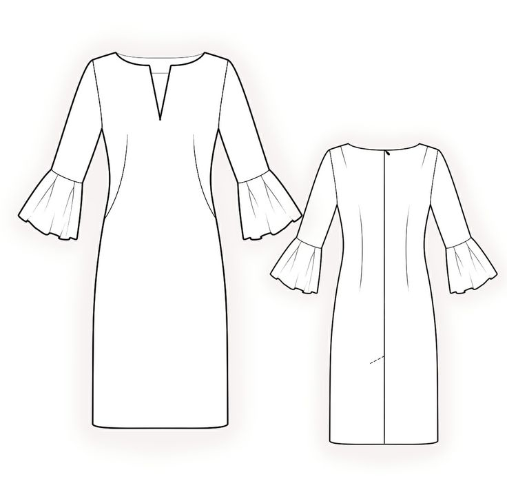 Dress With Decorative Cuffs  - Sewing Pattern #4213 Made-to-measure sewing pattern from Lekala with free online download.