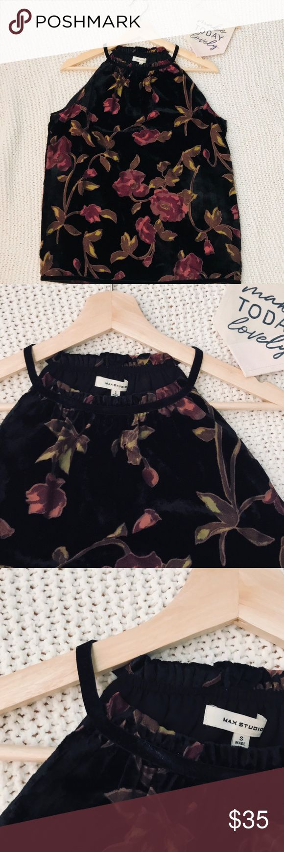 *FREE SHIPPING* MAX STUDIO velvet halter top Max studio velvet halter with floral design size small NWT chiffon lining  get ready for summer Max Studio Tops Blouses