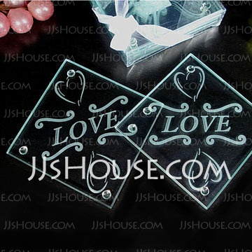 Square Clear Glass Coasters Wedding Favor Various Colors Available For Your Selection Embossed Logo Is Good Home Restaurant Bar And Hotel