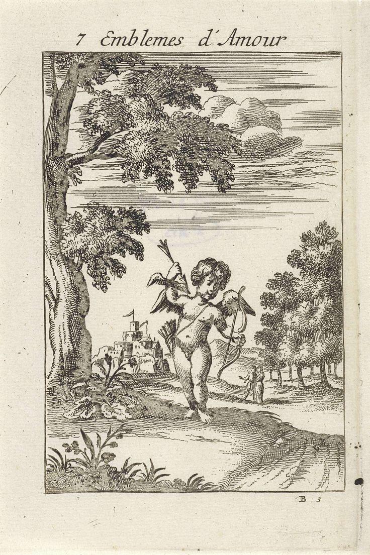 Jan van Vianen | Amor op het punt een pijl af te schieten, Jan van Vianen, 1686 | Amor in een landschap, met pijl en boog in zijn hand, klaar om te schieten. Op de achtergrond een minnend paar. Geliefden moeten dapper zijn en de liefde niet uit de weg gaan, wanneer die op hun pad komt. Zevende embleem uit Emblemata Amatoria.
