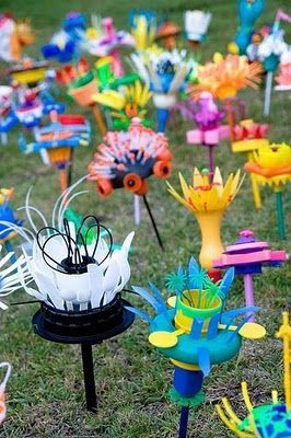 recycled art flowers More