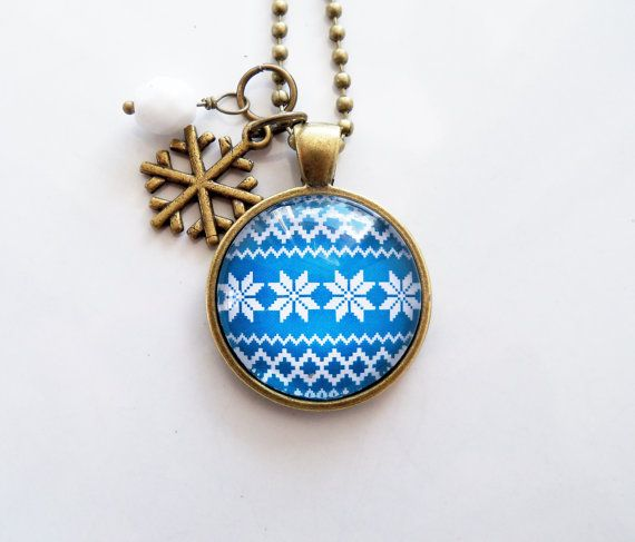 Nordic Pendant Necklace White and Blue Nordic by OxfordBright