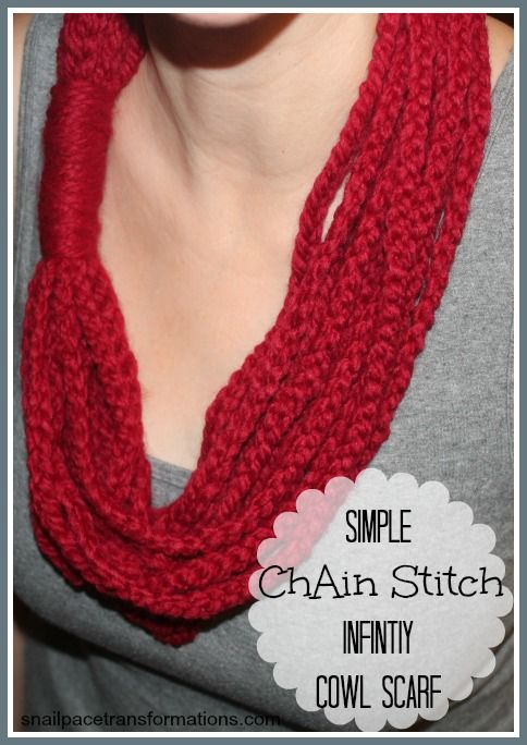 Red chain stitch infinity cowl scarf