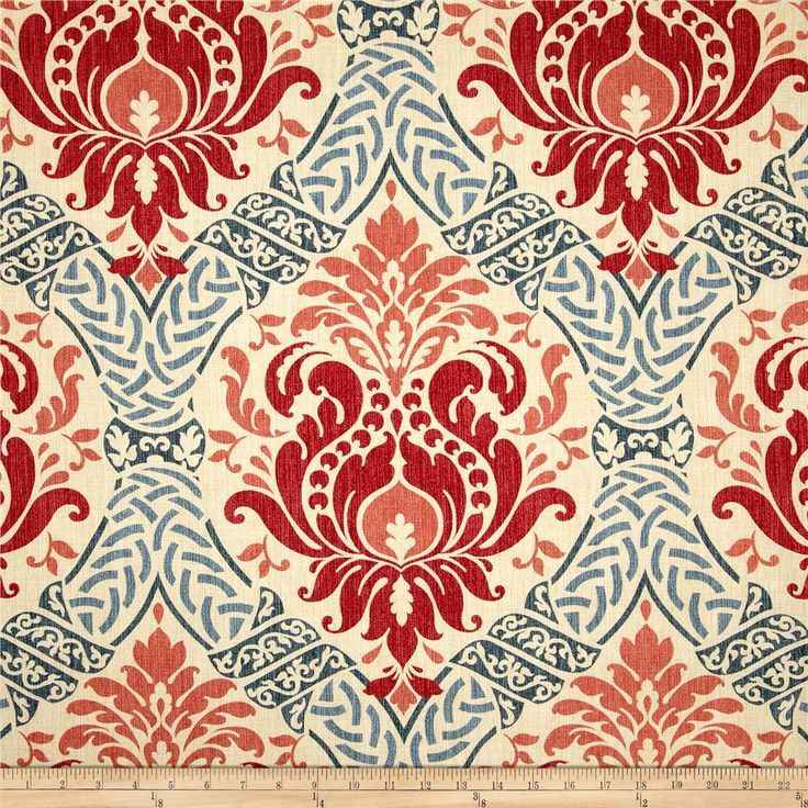 Waverly Dressed Up Damask Poppy from @fabricdotcom  Screen printed on cotton duck; this versatile, medium weight fabric is perfect for window accents (draperies, valances, curtains and swags), accent pillows, bed skirts, duvet covers, upholstery and other home decor accents. Create handbags, tote bags, aprons and more. Colors include coral, red, blue and natural. This fabric has 18,000 double rubs.