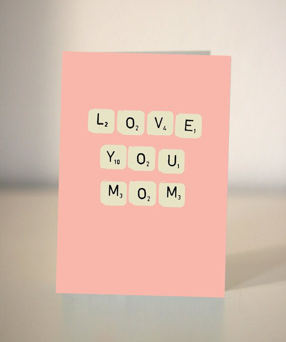 Mothers Day Scrabble card  Love you Mom/Mum  Just by DickensInk, £2.45