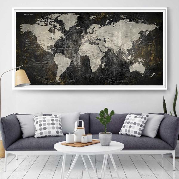 World Map Wall Art, Pin Travel Map, Push Pin World Map, Map Poster, World Map Push Pin, Travel World Map Poster, Home Decor Wall Art (L37)