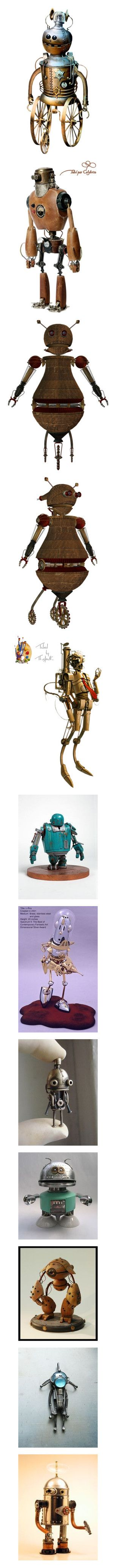 """Steampunk Robots"" by mallinturmeric ❤ liked on Polyvore featuring steampunk and robots"