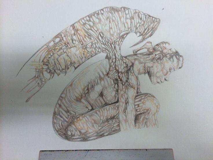 By Ella Sapsford. In sepia pencil. In style of Vincent Castigilia