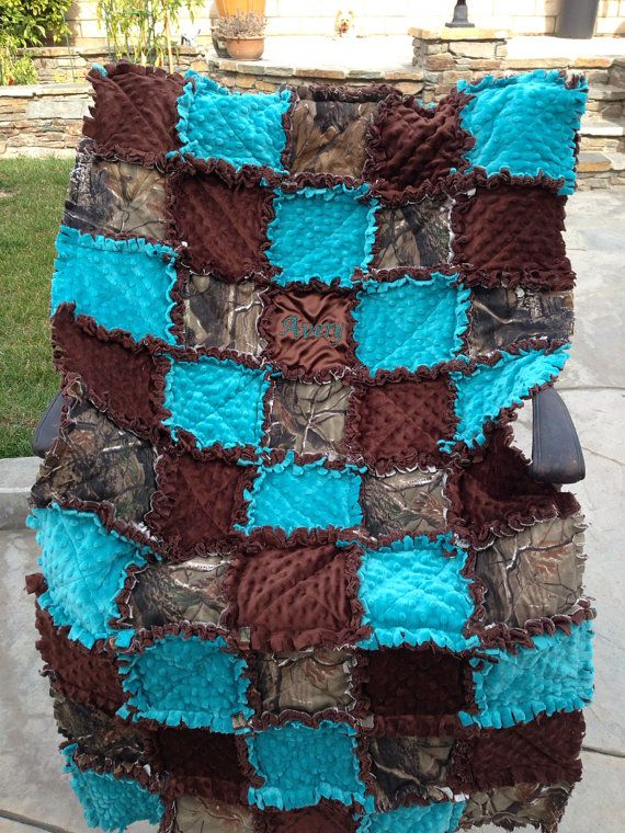 Custom made rag quilt diaper bag and quilt for baby boy or girl real tree camo and teal