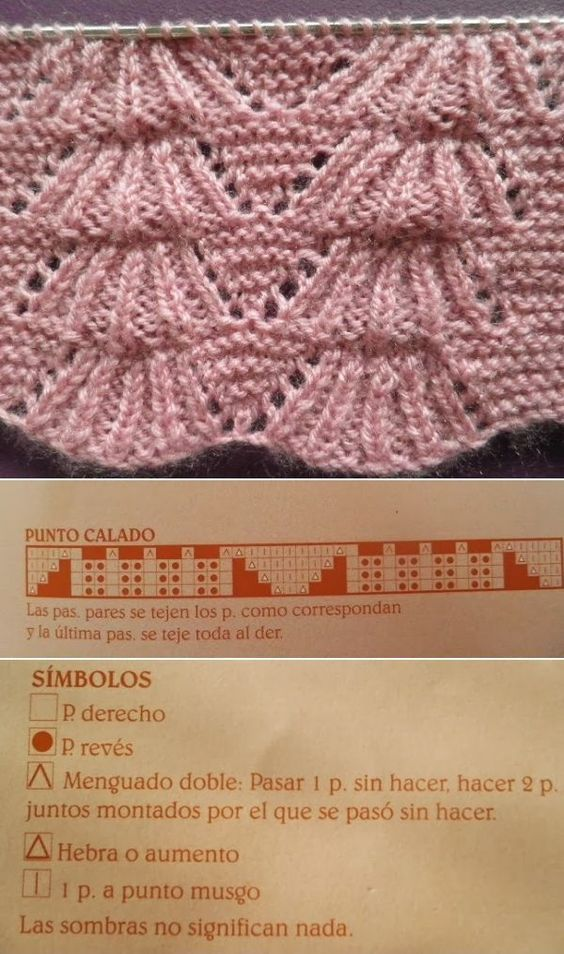 Bear tracks lace chart in Spanish: