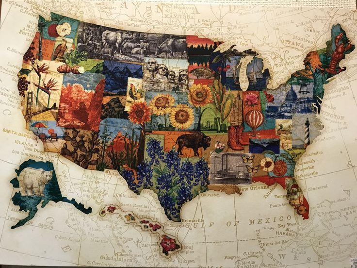 Espetáculo como este mapa dos EUA qualifica cada estado do país usando elementos da natureza, planaras, animais e monumentos inconfundíveis. Amei forte! Gostaria de ter um mapa assim do Brasil aqui em casa. 💚💛