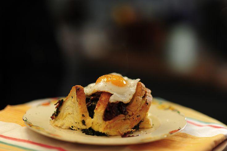 Rachel Khoo's 'eggy bread' Egg and bacon bread bake