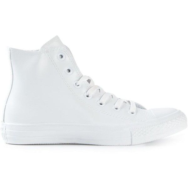 Converse Hi-Top Trainers featuring polyvore, fashion, shoes, sneakers, converse, white, high top sneakers, white high tops, hi tops, white sneakers and high top shoes