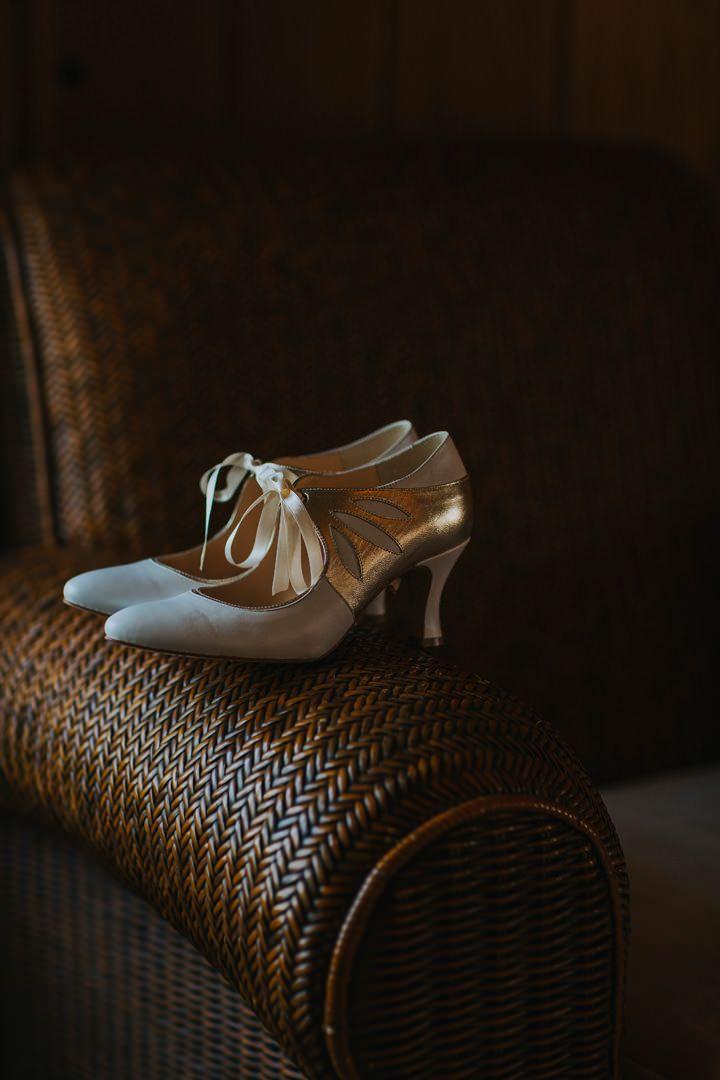 Gorgeous vintage inspired bridal shoes. Photo by Benjamin Stuart Photography #weddingphotography #bridalshoes #weddingshoes #bride #weddingday #weddingideas #whiteshoes