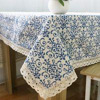 Hoge kwaliteit kant edge tafelkleed decoratieve tafelkleden linnen tafel cover home decor retro blauw tafelkleden bloemen