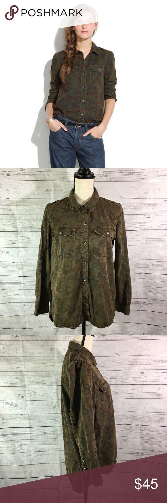 Madewell Tomboy Workshirt In Camo Madewell Women's Sz M Tomboy Camo Shirt Long Sleeve Button Up Cotton Pockets Madewell Tops Button Down Shirts