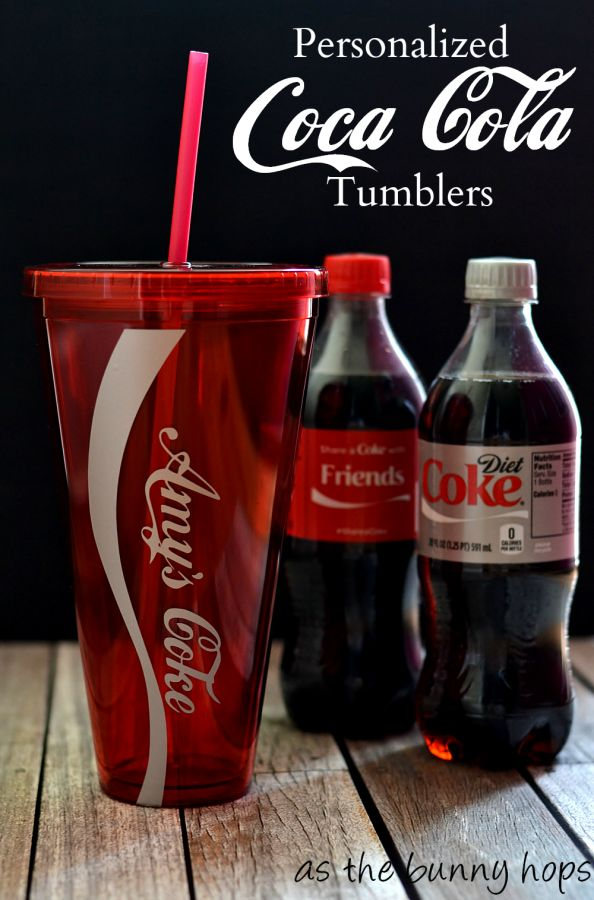 Personalized Coca Cola Bottle Tumblers tutorial from @asthebunnyhops