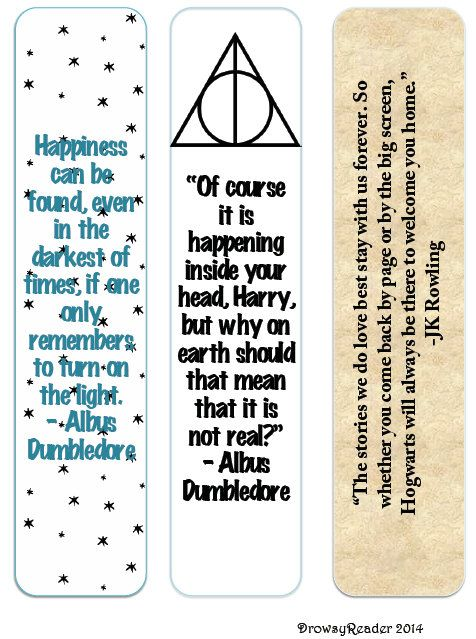 These Harry Potter bookmarks are available for INSTANT DOWNLOAD and includes three unique minimalist bookmarks with quotes from Dumbledore and JK