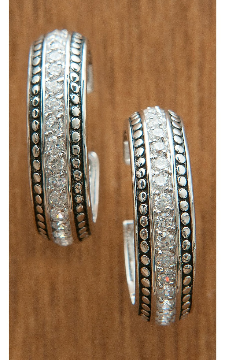 Montana Silversmiths® Silver with Crystals Hoop Earrings   Cavender's Boot City