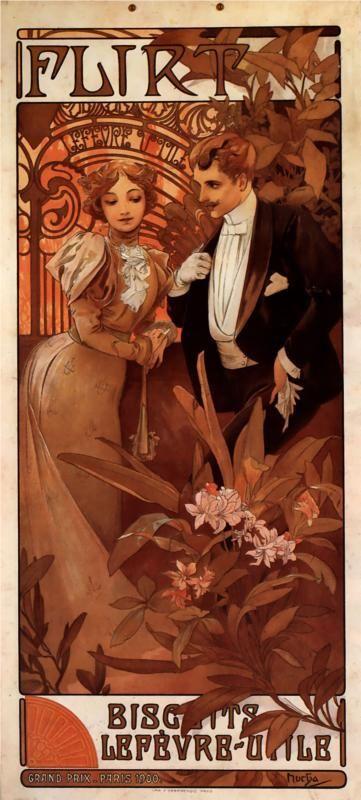 Flirt Lefevre Utile - Alphonse Mucha: Alfons Mucha, Art Nouveau, Alphon Mucha, Illustration, Art Prints, Poster, Artnouveau, Alphonsemucha, Alphonse Mucha