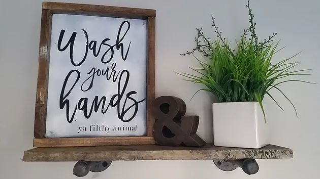 Wash Your hands, ya filthy animal. Tutorial for this DIY Funny Bathroom sign with free printable!