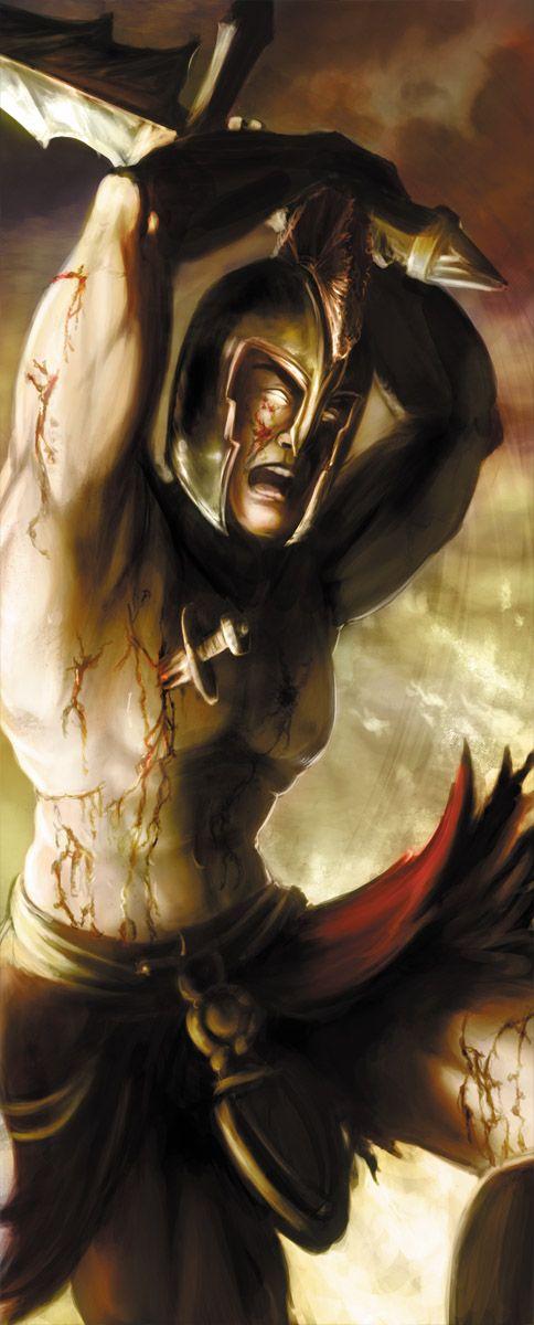 Aries (Marte para os Romanos)Filho de Zeus e Hera. Embora muitas vezes tratado como o deus olímpico da guerra, ele é mais exatamente o deus da guerra selvagem, ou sede de sangue, ou matança personificada.Embora também a meia irmã de Ares, Atena, fosse uma deidade da guerra, a posição de Atena era de guerra estratégica, enquanto Ares tendia a ser a violência imprevisível da guerra.