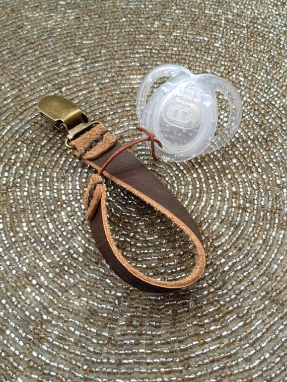 Brown Leather Binky Clip - Pacifier Clip by LittleAvocadosShop