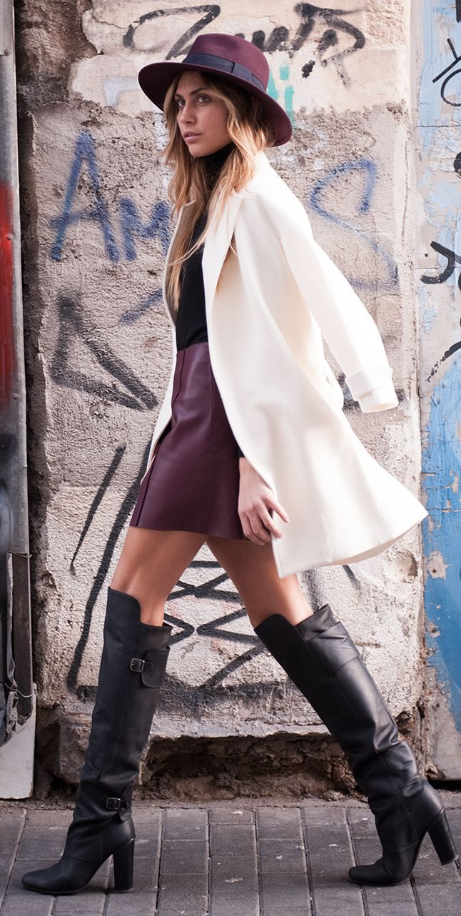 Burgundy Leather Mini Skirt by Twin Fashion #Berry