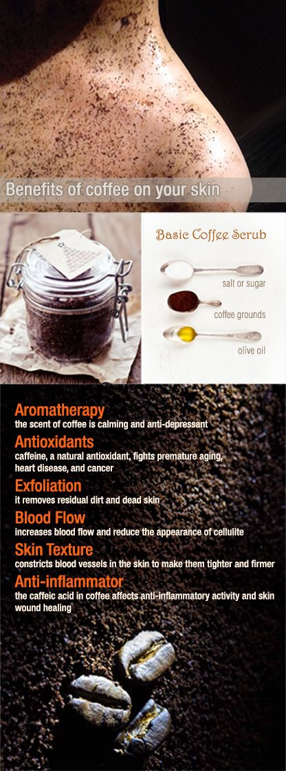 Coffee Scrub . Skin Care . Benefits . Body . Cellulite . Firm . Stretch Marks . Antioxidant . Blood Flow . Aromatherapy . Home Remedy . DIY . Caffeine Skin Care products - http://amzn.to/2iSUZHs
