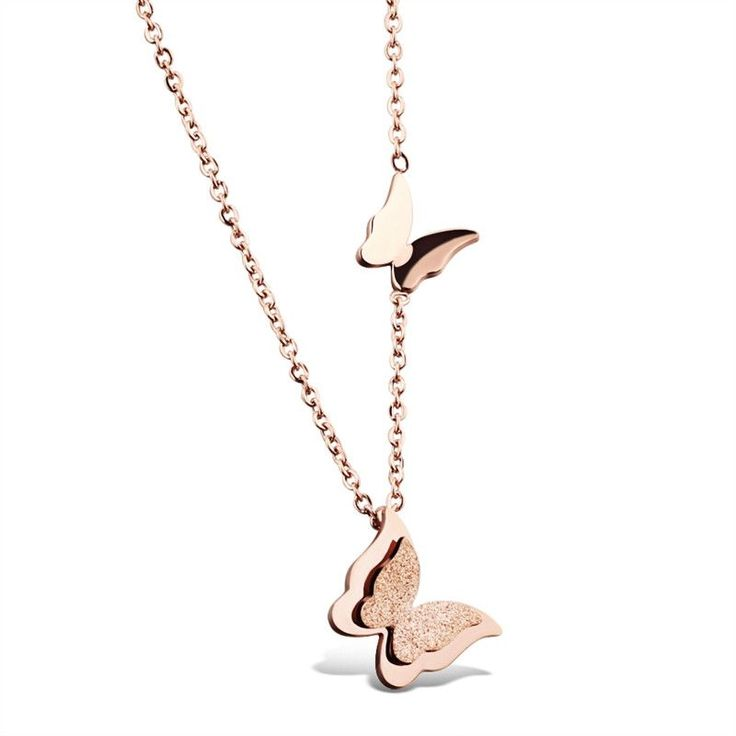 Women's Rose Gold Stainless Steel Double Butterfly Pendant & Necklace Clavicle Chain