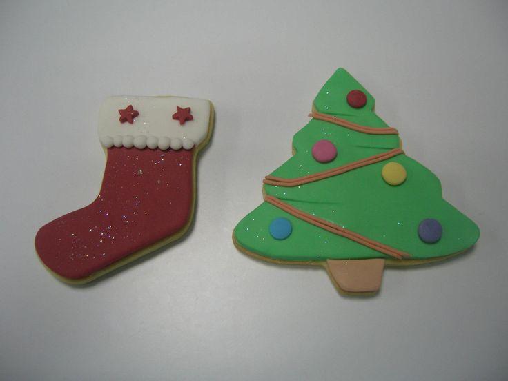 Calcetín y árbol de navidad.