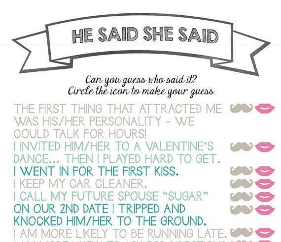 "Bride And Groom Trivia Questions: ""He Said She Said"" Bridal Shower Game. The Etsy Shop Owner"