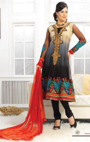 Black And Cream Color Net Designer Churidar Kameez ORKF1109. Save: 10% off