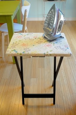 Use A TV Tray To Make A Mini Ironing Board To Have Next To You While