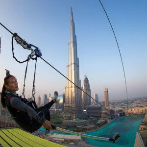 XDUBAI has provided a zipline adventure that starts from Burj Khalifa  passing the famous dancing fountains end to Dubai mall 😀 MIGHTY!