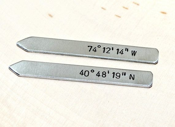 Latitude longitude collar stays in aluminum with by NiciLaskin