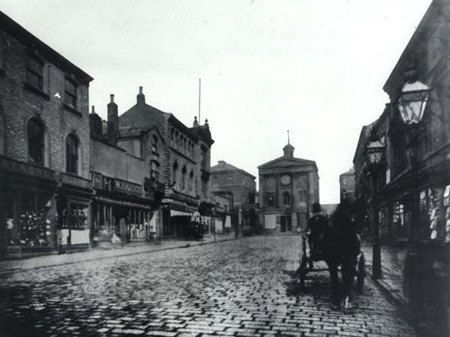 Upper Briggate and the Old Corn Exchange, 1860