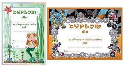 Dyplomy w wersji dla dziewczynki i chłopca za odwagę w walce z astmą