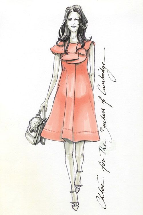 coral summer dress x Kate Middleton :: Baby bump designs by Chloe